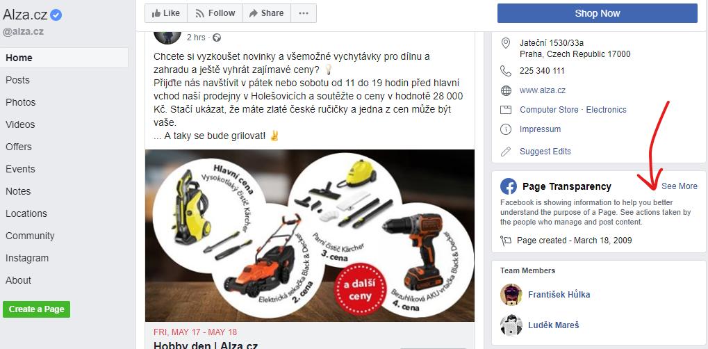 informace o stránce na facebooku